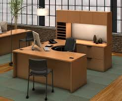 furniture u shaped brown wooden office desks with hutch having stoage and racks added by awesome shaped office desk