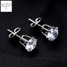 <b>XZP</b> 1 Pair Silver Round Stud Earrings For Women CZ AAA Zircon ...