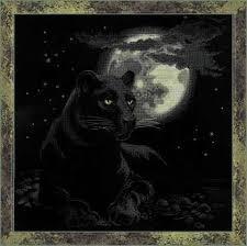 <b>Full Moon</b> Cross Stitch <b>Kit</b> | Пантера, Наборы для вышивки ...