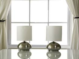 Side Table Lamps For Bedroom Light Accents Touch Table Lamps Brushed Nickel With Fabric Shades