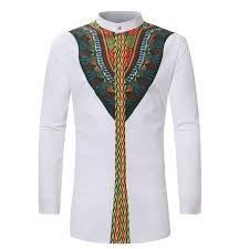 <b>2018</b> Fashion Mens Shirt Stand Collar Print Dashiki <b>African Shirt</b> ...