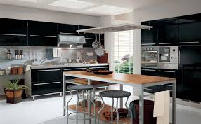 wood kitchen table beautiful: modern black and grey metal combination with wooden kitchen table