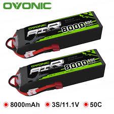 <b>2 Packs OVONIC 8000mAh</b> 50C Lipo 3S Batteries 11.1V Deans ...