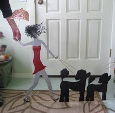 dog faces ceramic bathroom accessories shabby chic: large metal wall art poodle decor umbrella lady walking dogs recycled metal wall art  x  custom request standard poodle red and black