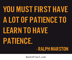 You must first have a lot of patience to learn to have patience ... via Relatably.com