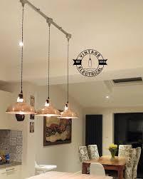 3 x Cawston Industrial factory <b>solid copper</b> shade <b>light ceiling</b> dining ...