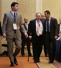 presidential hopefuls court sheldon adelson in vegas the times sheldon adelson center arrives at the republican jewish coalition as new jersey gov