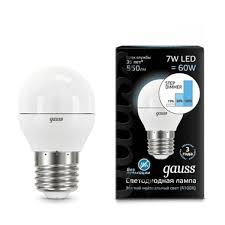 Lampe led <b>Gauss led globe E27</b> 7W 4100K étape réglable 1/10/100 ...