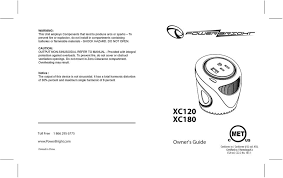 XC120 <b>XC180</b>. Owner's Guide Conforms to / Conforme à UL std ...