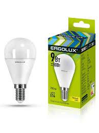 Набор из 10 светодиодных <b>лампочек</b> LED <b>9W</b> 3000К <b>E14 Ergolux</b> ...