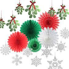<b>Christmas Paper Decoration Kit</b> SILVER Snowflakes Mistletoe ...