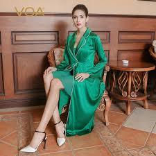 2019 <b>VOA 2017 Autumn</b> Long Sleeve Green Silk Nightdress Simple ...