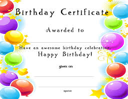certificate birthday certificate template birthday certificate template