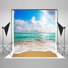 Beautiful Beach Sunny <b>Photography Backdrops</b> Blue Sea Water and ...