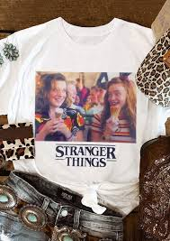 Stranger Things <b>O</b>-<b>Neck</b> T-<b>Shirt Tee</b> - <b>White</b> - Fairyseason