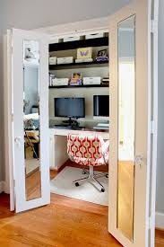 contemporary home office example of a trendy home office design in dallas with a built in bedroom home office view