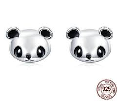 <b>Genuine</b> 100% <b>925 Sterling Silver</b> Cute Panda Stud Earrings ...