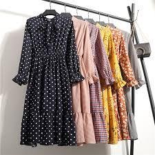 Korean <b>Black</b> Shirt Vestidos Office Polka Dot Vintage Autumn ...