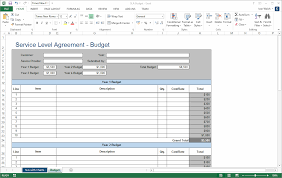 service level agreement template ms word excel service level agreement table of contents