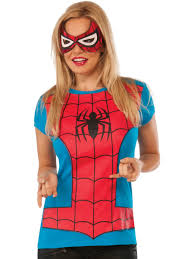 <b>Womens</b> Adult <b>Spider Girl</b> T-Shirt And Mask Set Costume - Walmart ...