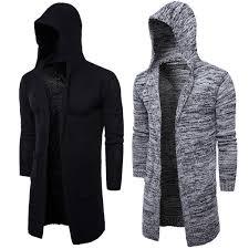 Men'S Hooded Sweater Knitting Cardigan Sweater Jackets <b>Slim</b> ...