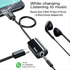 <b>Baseus Type-C Male</b> to Type-C Female Charging Cable+3.5mm ...