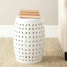 patio stool: lattice petal white garden patio stool