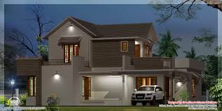 Beautiful modern Kerala home design   Kerala home design and floor    night view of modern house