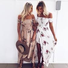 Boho <b>long dress</b> women Off shoulder <b>beach summer dresses</b> Floral ...