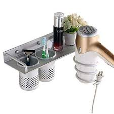 durable hair dryer holder aluminium wall mount rack stand and organizer for bathroom accessories