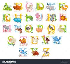 cute animal alphabet funny cartoon character stock vector funny cartoon character a b c d