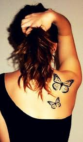 black ink flying butterflies tattoo on back awesome black white
