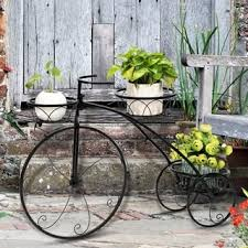 Zimtown Paint Iron <b>Bicycle Shape</b> 3 <b>Plant Stand</b> Black