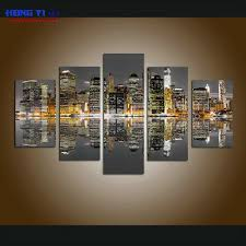 Large Framed City Views <b>Modular Picture</b> Canvas Print Painting ...