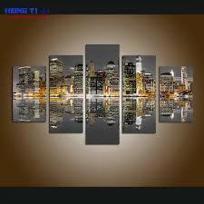 Large Framed City Views <b>Modular</b> Picture <b>Canvas</b> Print Painting ...
