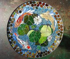 mosaic wall decor: mosaic table koi fish art stained glass mosaic art quot round indoor