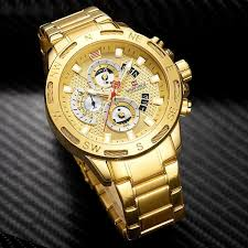 NAVIFORCE Luxury <b>Mens</b> Sport <b>Watches</b> Gold <b>Full Steel</b> Quartz ...