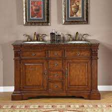 55 inch double sink bathroom vanity: silkroad exclusive  inch double sink cabinet bathroom vanity