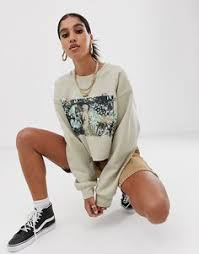 Reclaimed Vintage inspired photographic cropped sweater