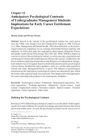 anticipatory psychological contracts of undergraduates management inside