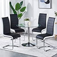GIZZA Dining Chairs x6 <b>Modern Artificial Leather</b> Upholstered Black ...