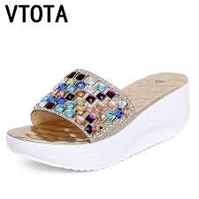 <b>VTOTA Women</b> Summer Slippers Fashion Open Toes Crystal ...