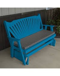 a amp l furniture yellow pine fanback outdoor bench glider caribbean blue caribbean furniture