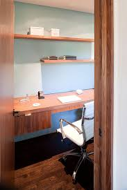 moraga residence example of a minimalist home office design in other with blue walls dark hardwood bedroom chairs for small spaces bedroom chairs small spaces office