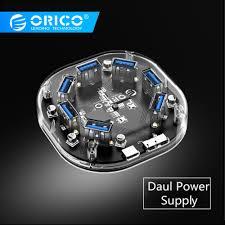 <b>ORICO</b> Transparent <b>USB</b> HUB 3.0 External <b>4/7 Port USB</b> Splitter ...