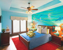f wonderful sea blue wallpaper themed bedroom decorating ideas for children boy with traditional brown mahogany double bed frames and 5 blade ceiling fan bedroom decor ceiling fan