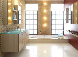 bathroom sconces justice design lighting with two small mirrored cabinets and brick bathroom wall also bathroom sink lighting