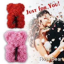 40cm christmas rose bear artificial roses teddi oso flower valentine gift girl friend букет мишка из роз розы