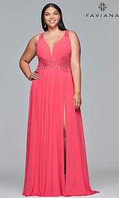 Formal <b>Plus</b>-<b>Size Chiffon</b> Prom Dress with <b>Embroidery</b>