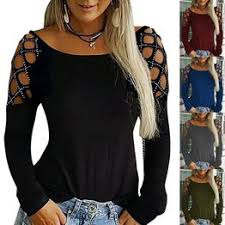 S-5XL Plus Size Shirts Women Casual Hollow-Out Shoulder ... - Vova